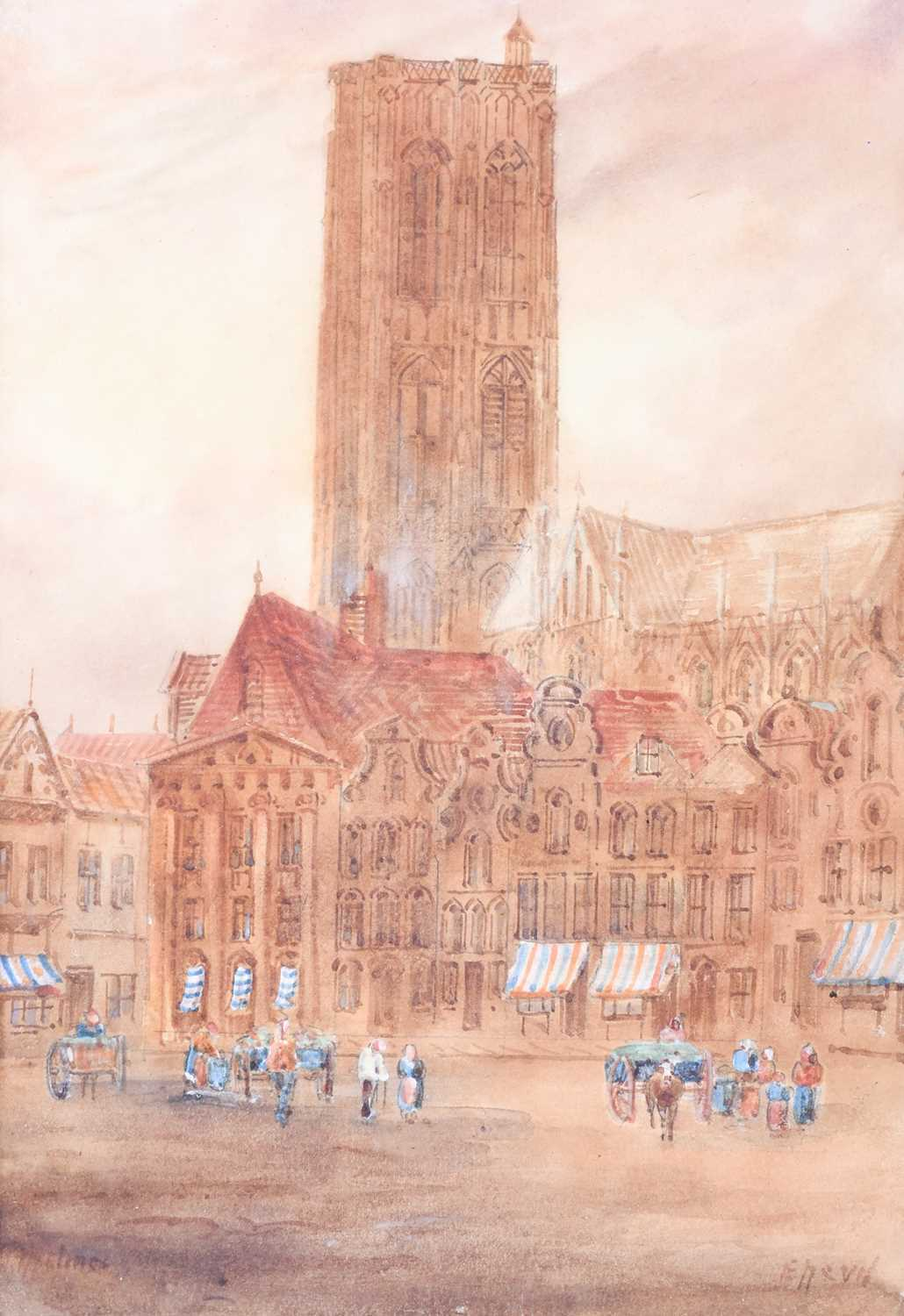 Edward Nevil (British, fl: 1880 - 1900) 'Ypres' & 'Malines', signed, watercolour, a pair, 27 x 19cm - Image 3 of 7