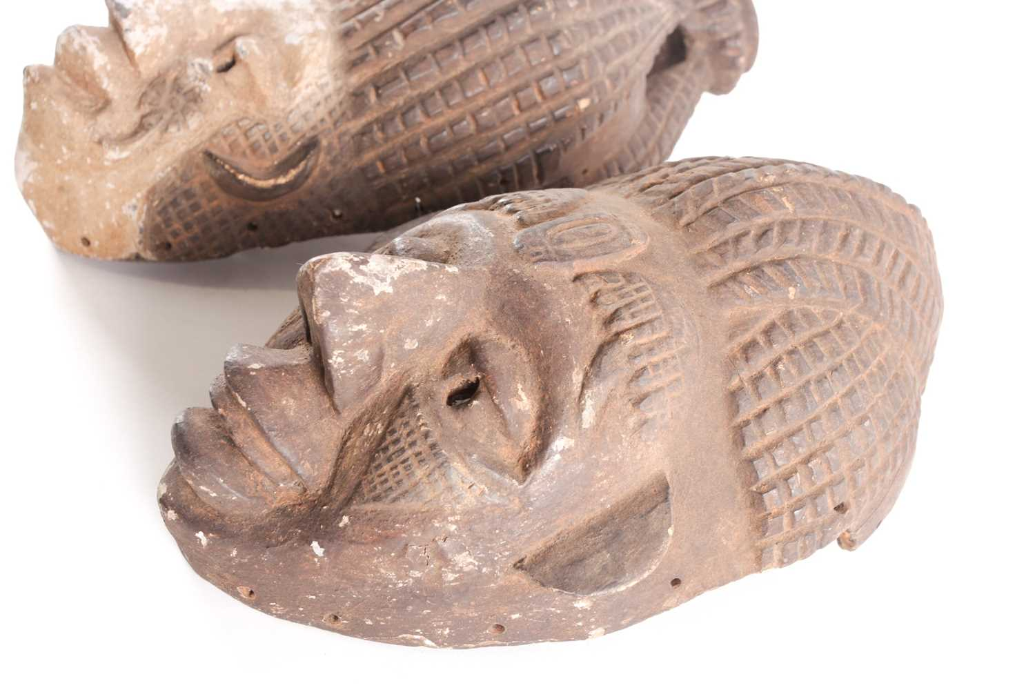 An Ibibio mask, Nigeria, with tall coiffure united at the top, the kaolin painted face with relief - Image 3 of 4