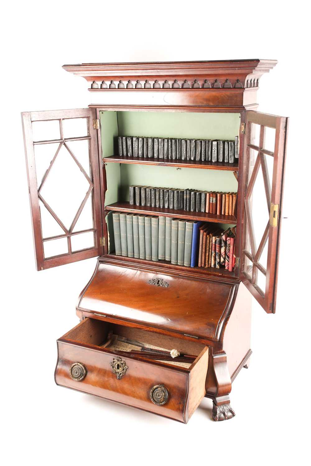 A Chippendale style miniature mahogany bombe bureau bookcase. The upper section with arcaded - Image 3 of 7