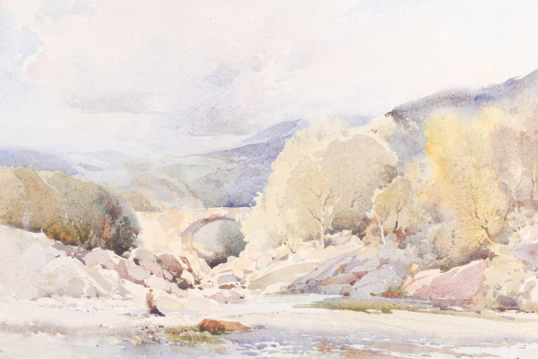 Jack Merriott RI, ROI, RSMA, RWS (1901-1968), 'Killicrankie', a fisherman on rocks beside a river, - Image 2 of 5