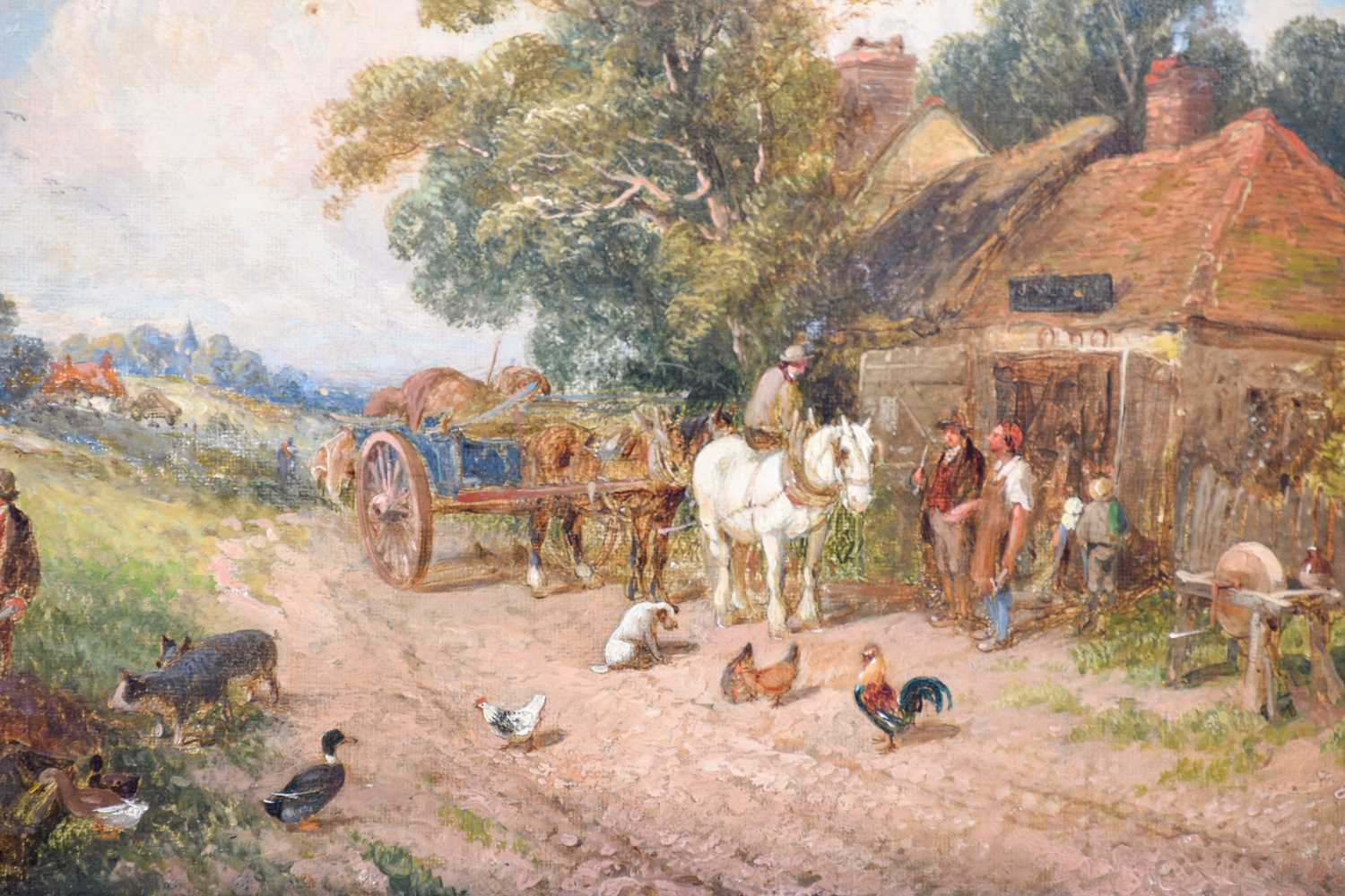 Edwin L. Meadows (fl. 1854-1872) British, a rural scene depicting a horse and cart beside a - Image 4 of 4
