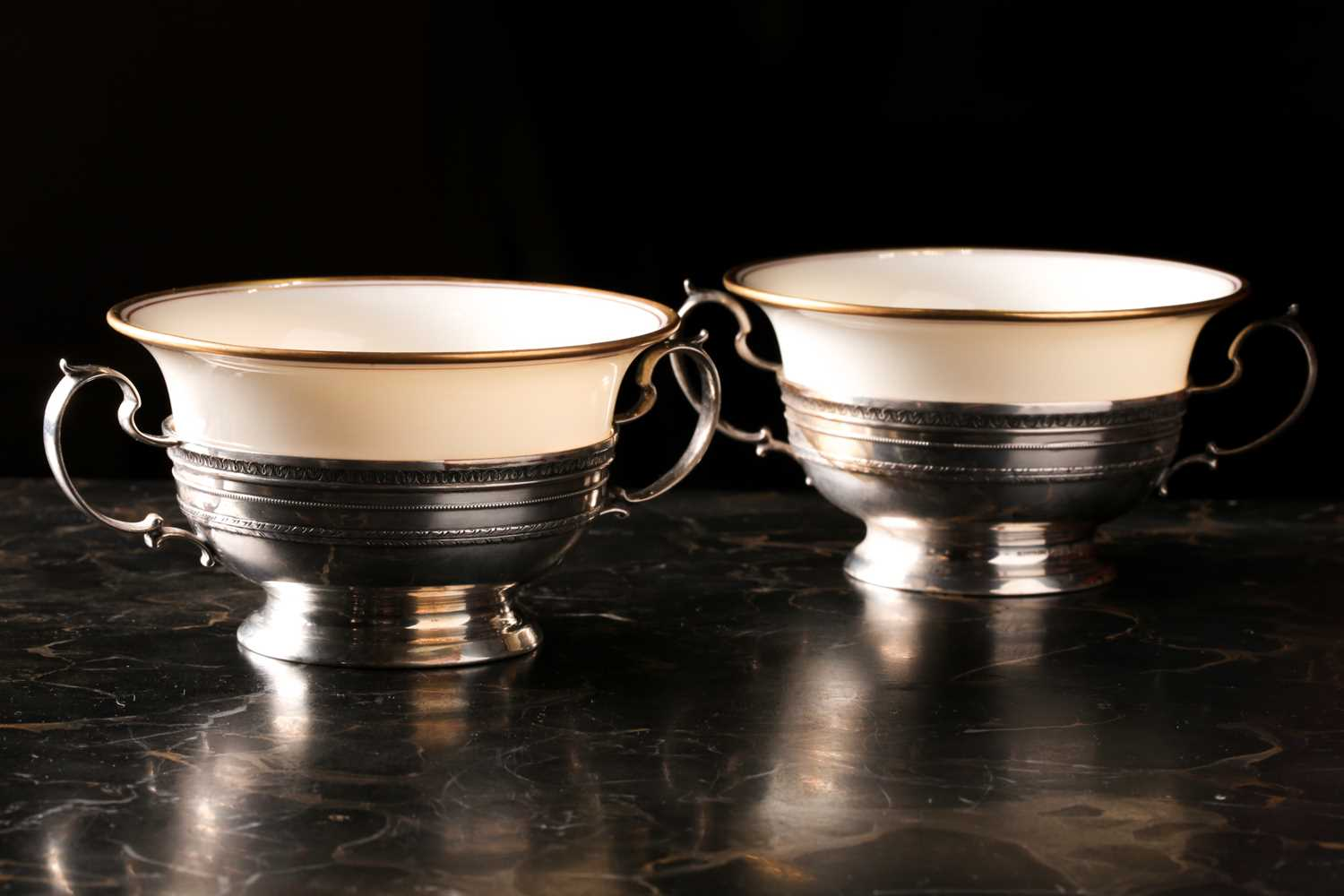 A Lenox Porcelain coffee and dessert service, set in Gorham Sterling Silver mounts, comprising - Image 10 of 26