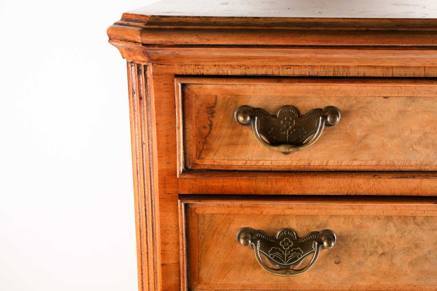 A George II style miniature walnut chest on chest with canted upper section fitted four long drawers - Image 5 of 5