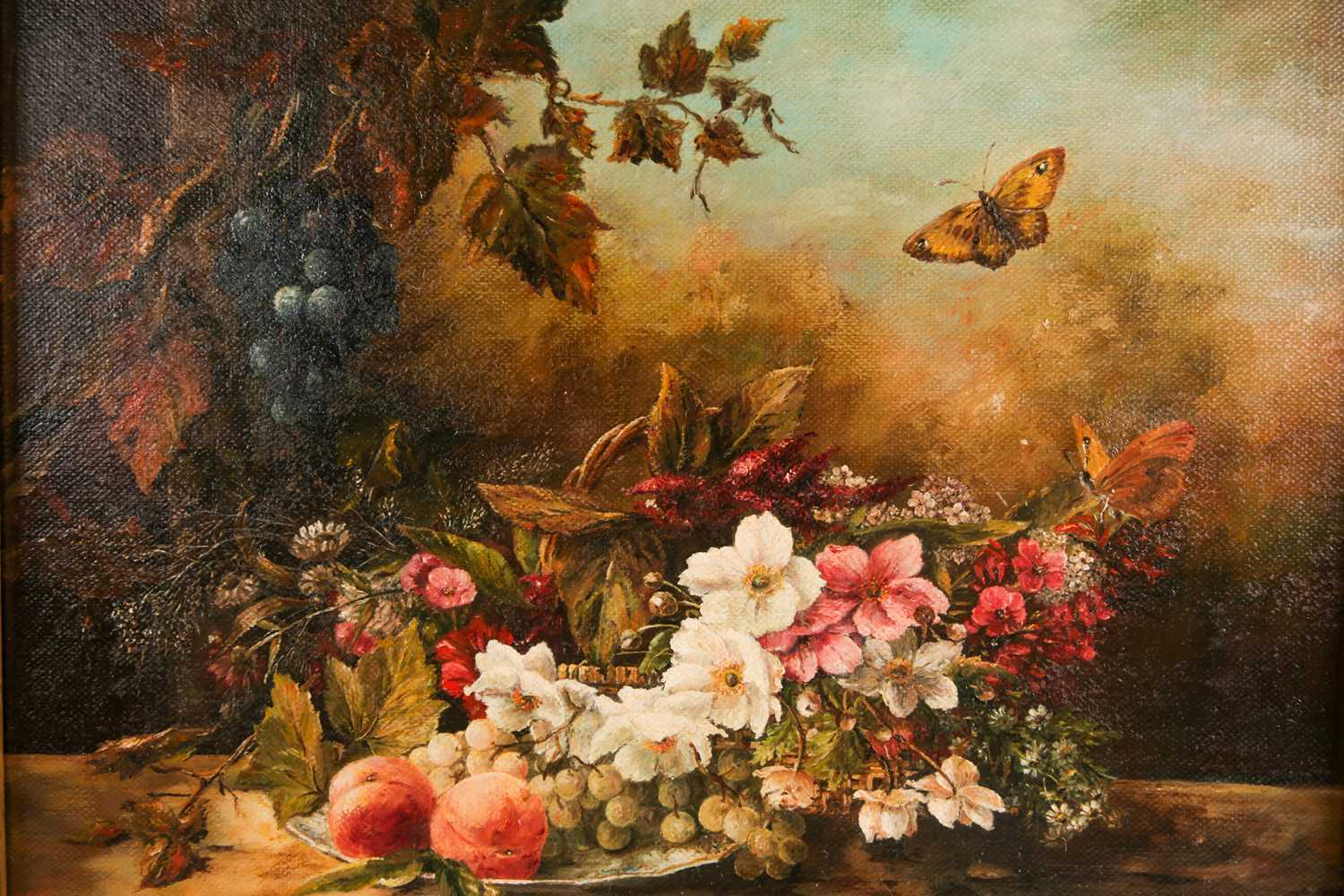 Hendrika Anna Doedjins (b.1942), a still life study of flowers and fruit on a ledge with - Image 2 of 4