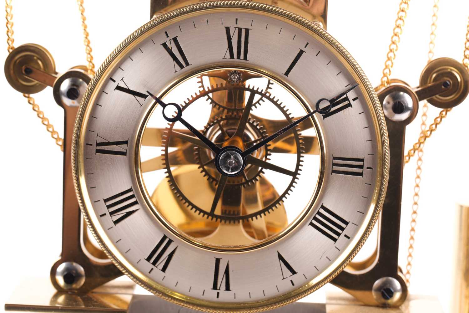 F.H. Whitlock. A French-style twin weight driven brass skeleton timepiece mantle timepiece with - Image 8 of 9