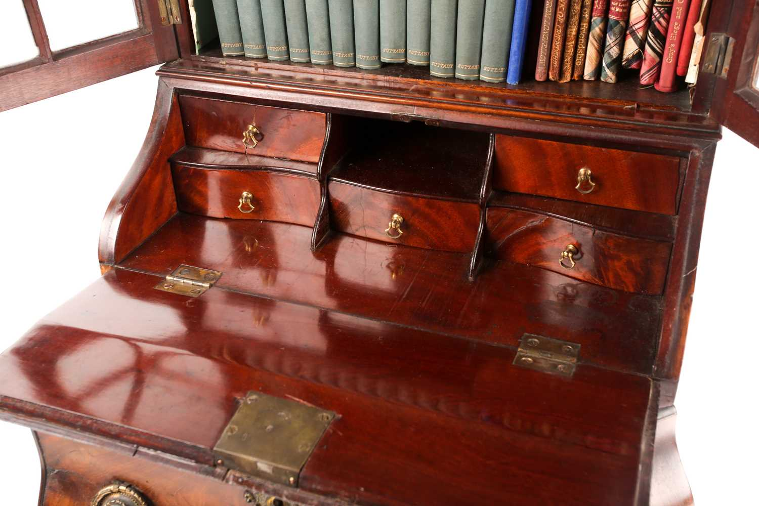 A Chippendale style miniature mahogany bombe bureau bookcase. The upper section with arcaded - Image 5 of 7