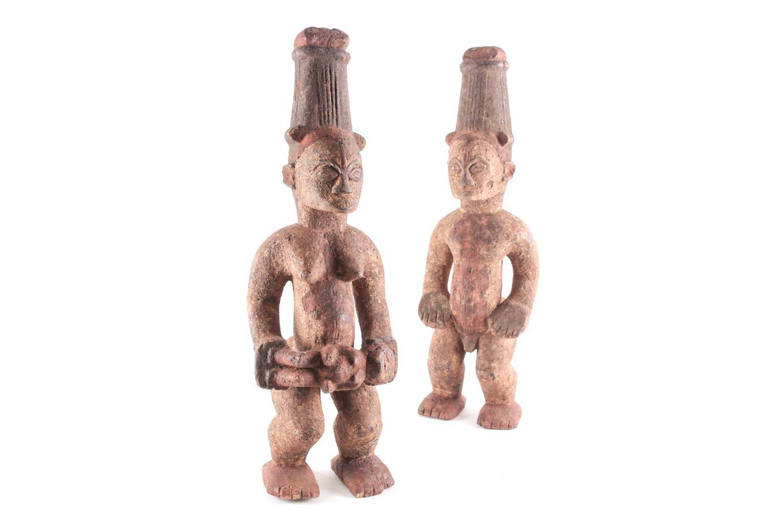 A pair of Ibo spirit figures, Nigeria, each with tall coiffure, signs of scarifications beneath - Image 3 of 5