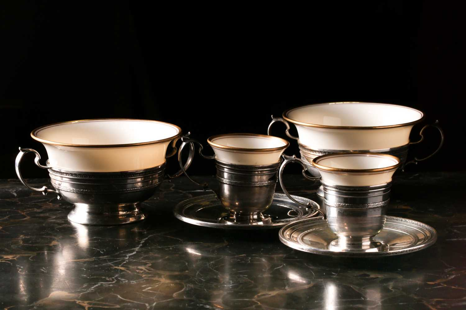 A Lenox Porcelain coffee and dessert service, set in Gorham Sterling Silver mounts, comprising - Image 9 of 26