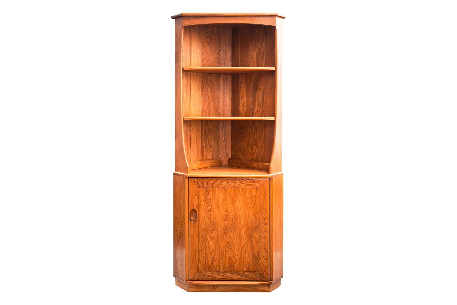 An Ercol golden dawn light elm free standing corner cupboard with an open upper section above a - Image 4 of 8
