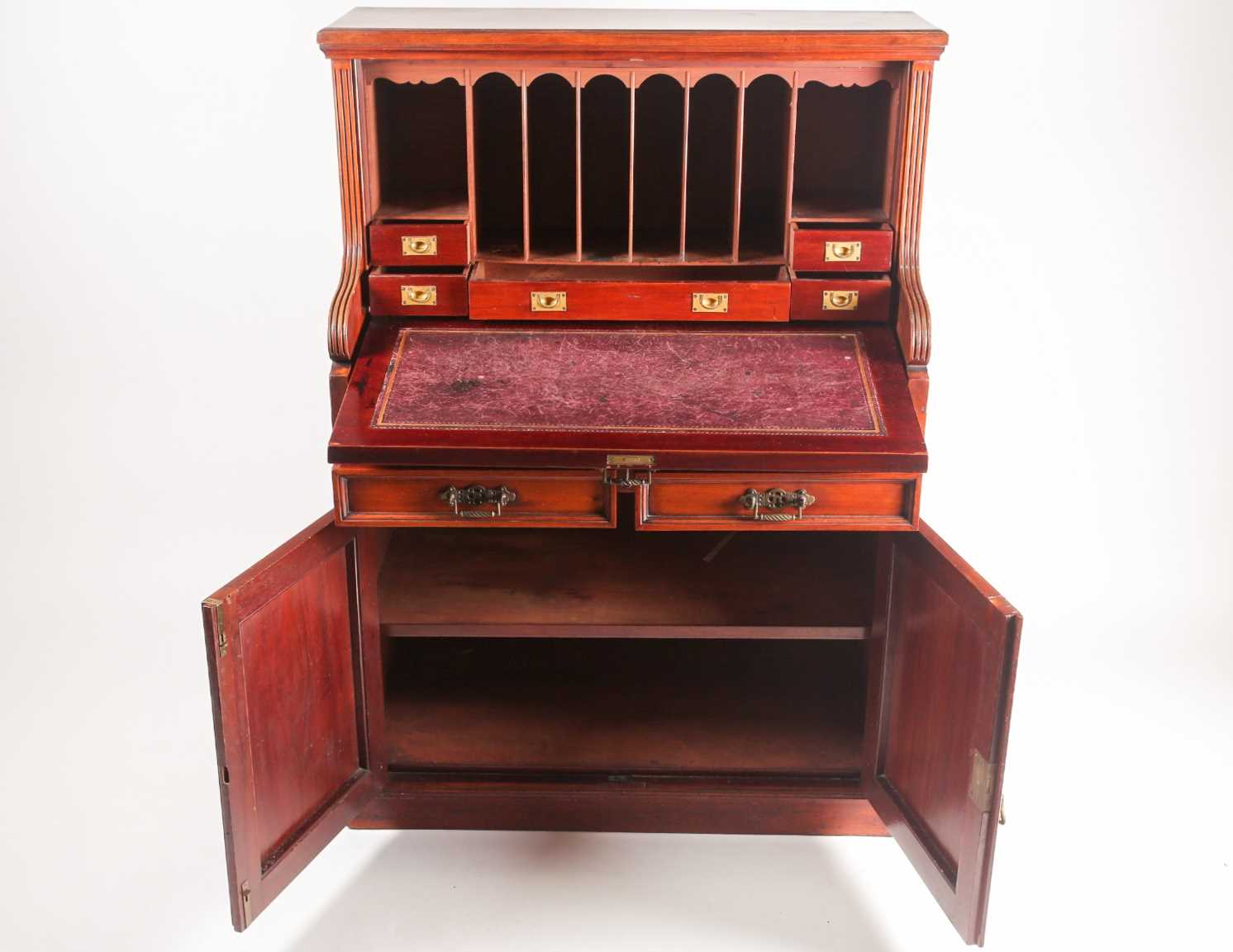 A late 19th-century Aesthetic design walnut fall front secretaire with fitted and leathered - Image 6 of 6