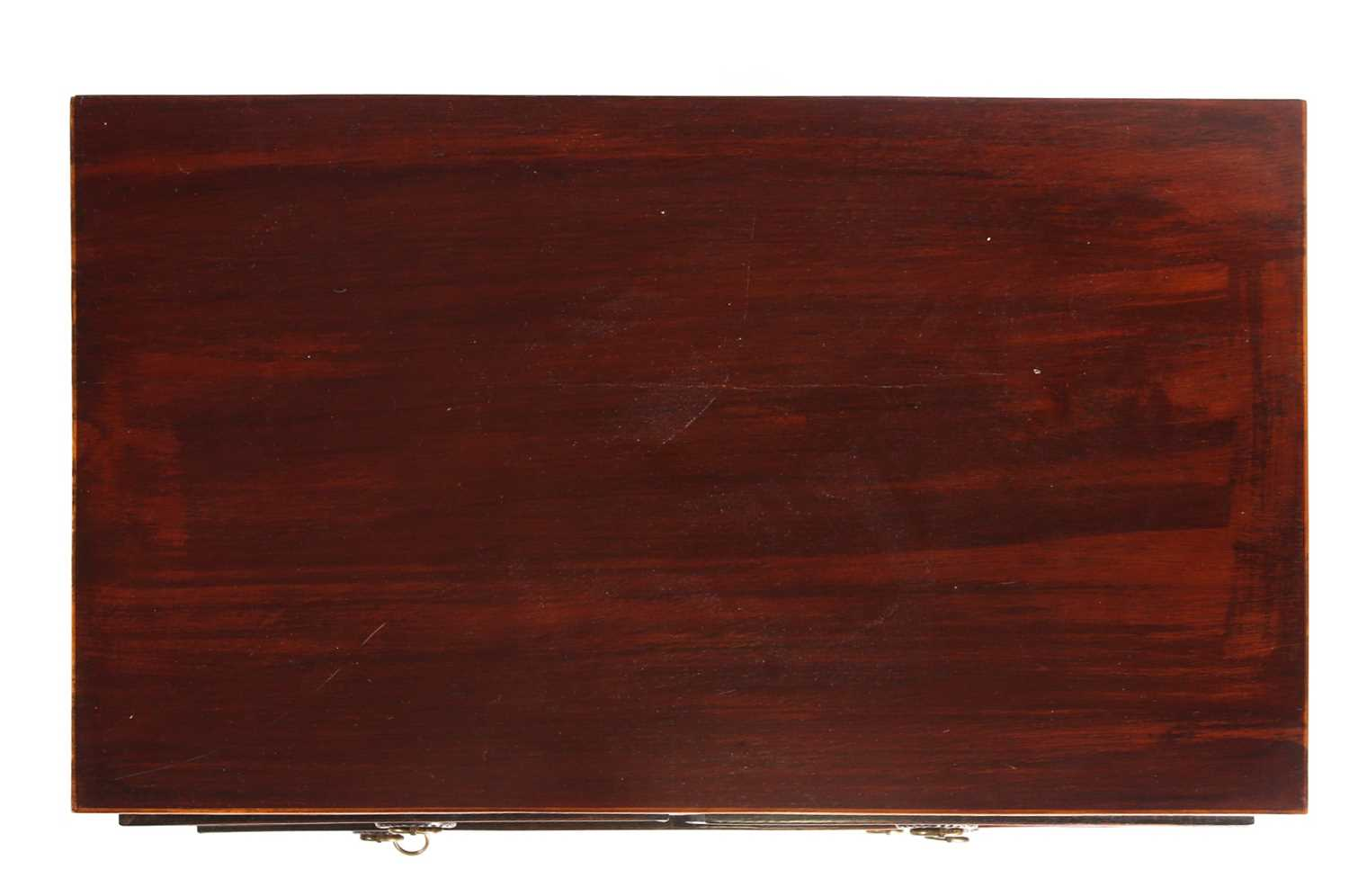 A small George III style satinwood strung mahogany caddy topped chest of drawers. With two short - Image 6 of 7