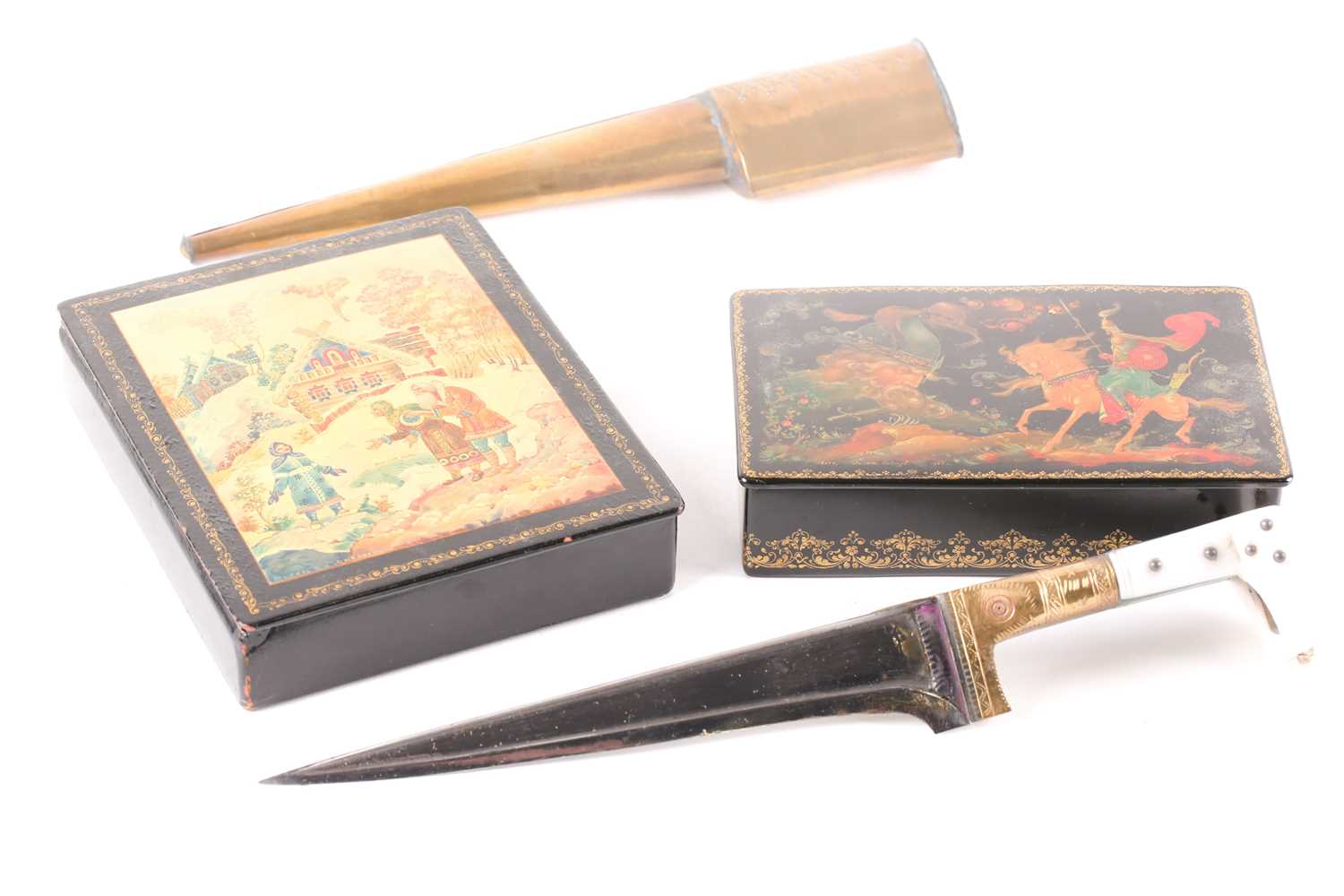 Two Russian lacquer boxes, 20th century, each painted with folklore scene, both signed, the