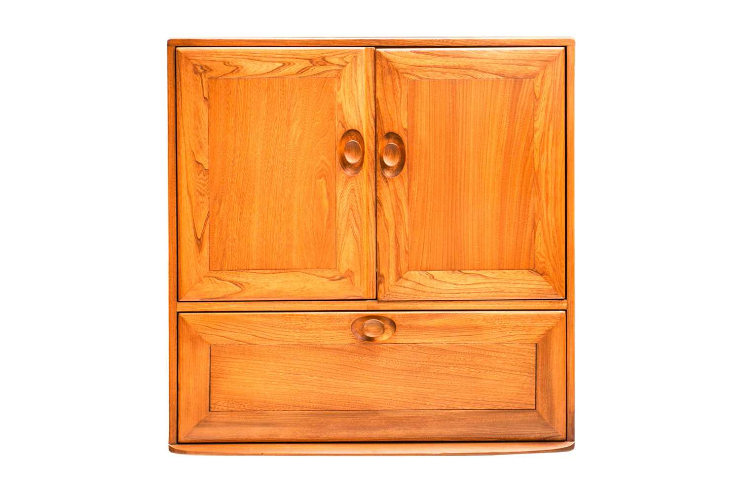 An Ercol golden dawn light elm free standing corner cupboard with an open upper section above a - Image 7 of 8