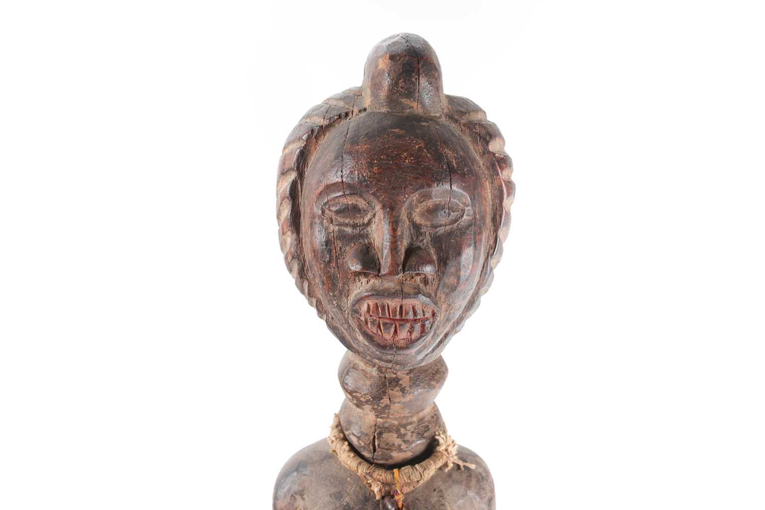An Ambete standing female reliquary figure, Gabon, with linear coiffure, traces of red pigment to - Image 4 of 5