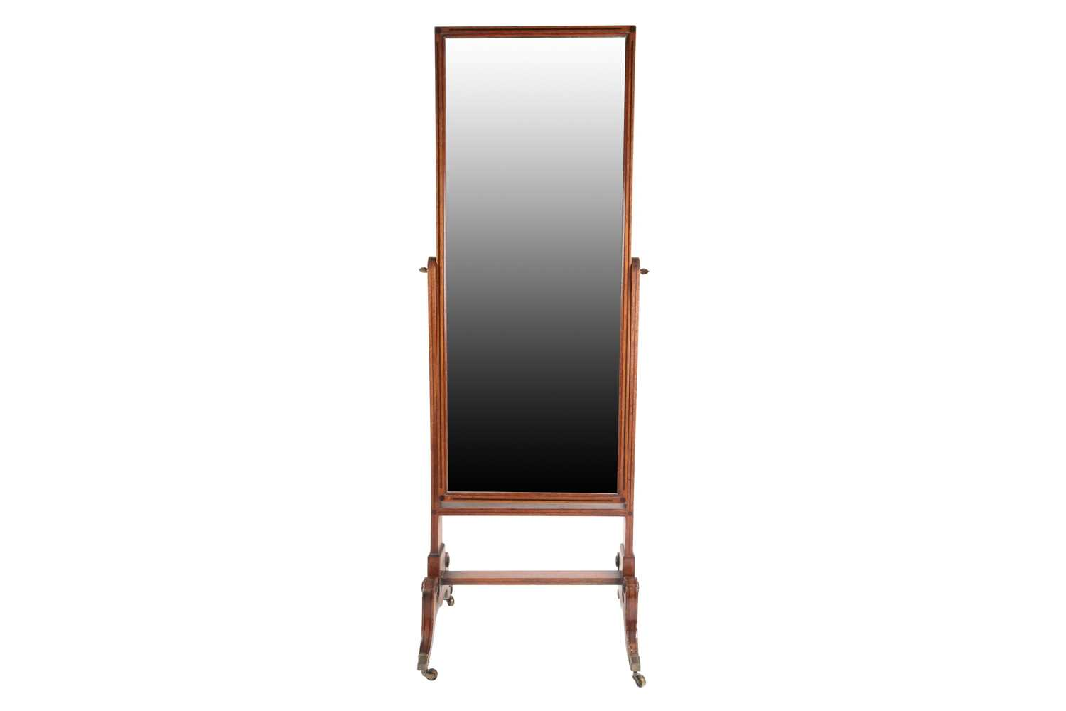 A George IV ebony strung and inlaid mahogany cheval dressing mirror. On shaped scroll and sabre