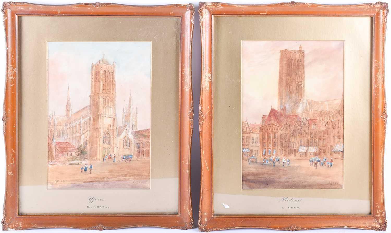 Edward Nevil (British, fl: 1880 - 1900) 'Ypres' & 'Malines', signed, watercolour, a pair, 27 x 19cm