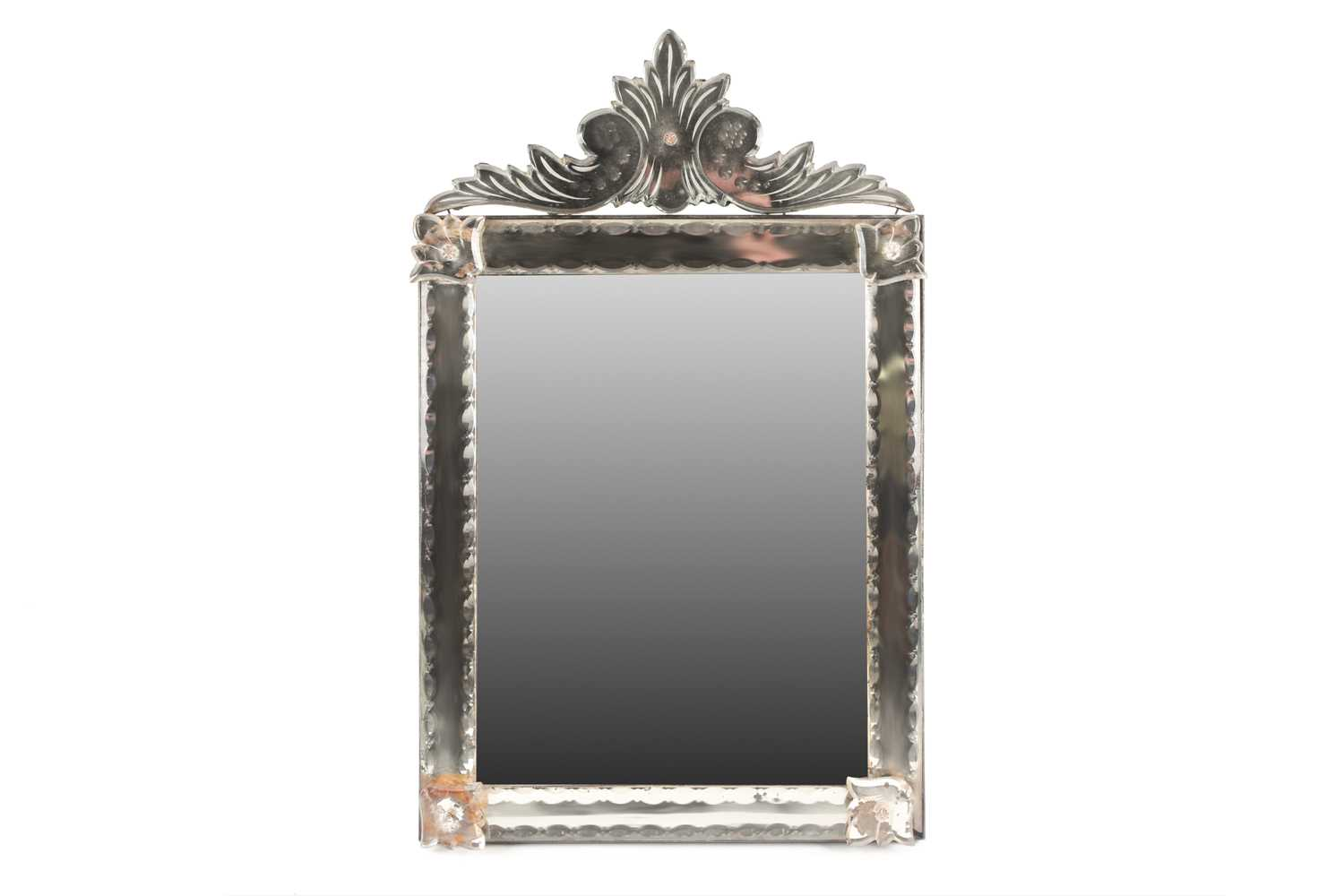 A Venetian dressing table mirror, with scroll surmount and easel back, 62 cm x 38 cm (full