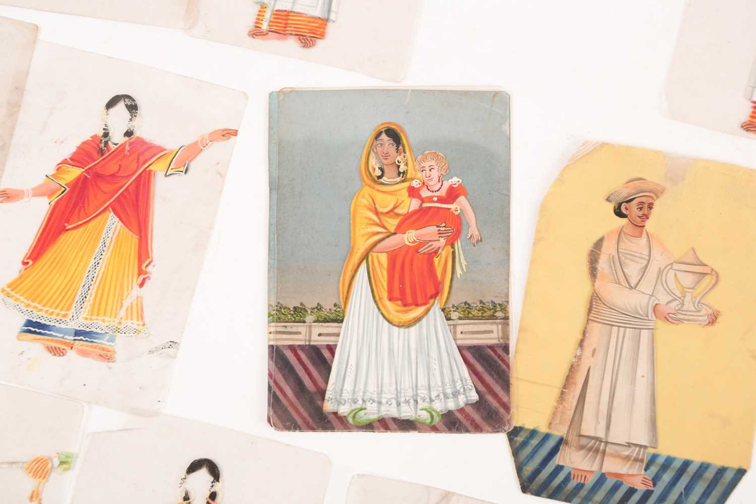 Twenty three Indian Company School mica studies of costumes, 19th century, depicting male and female - Image 4 of 10