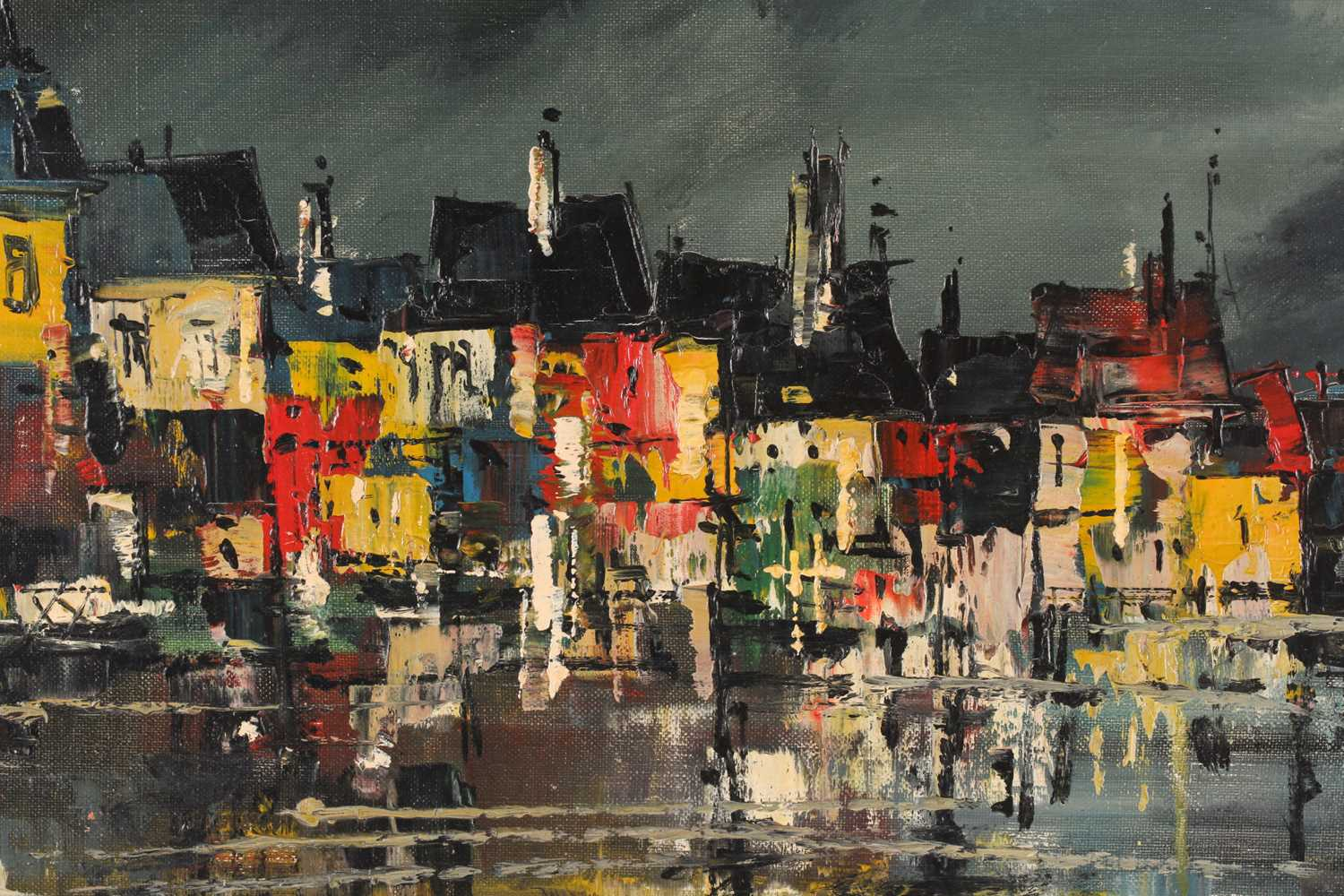 Biro, 20th century school, a townscape painted at night, oil on canvas, signed to lower left corner, - Image 5 of 6