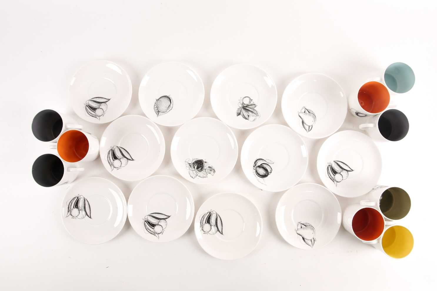 A collection of Susie Cooper black fruit pattern coffee cans and saucers, the cans with variously - Image 7 of 7