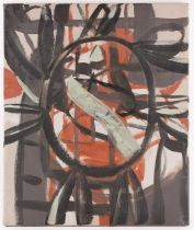 Maurice Cockrill RA (1936-2013), an unframed abstract oil on canvas, 'Earth Opening', signed verso
