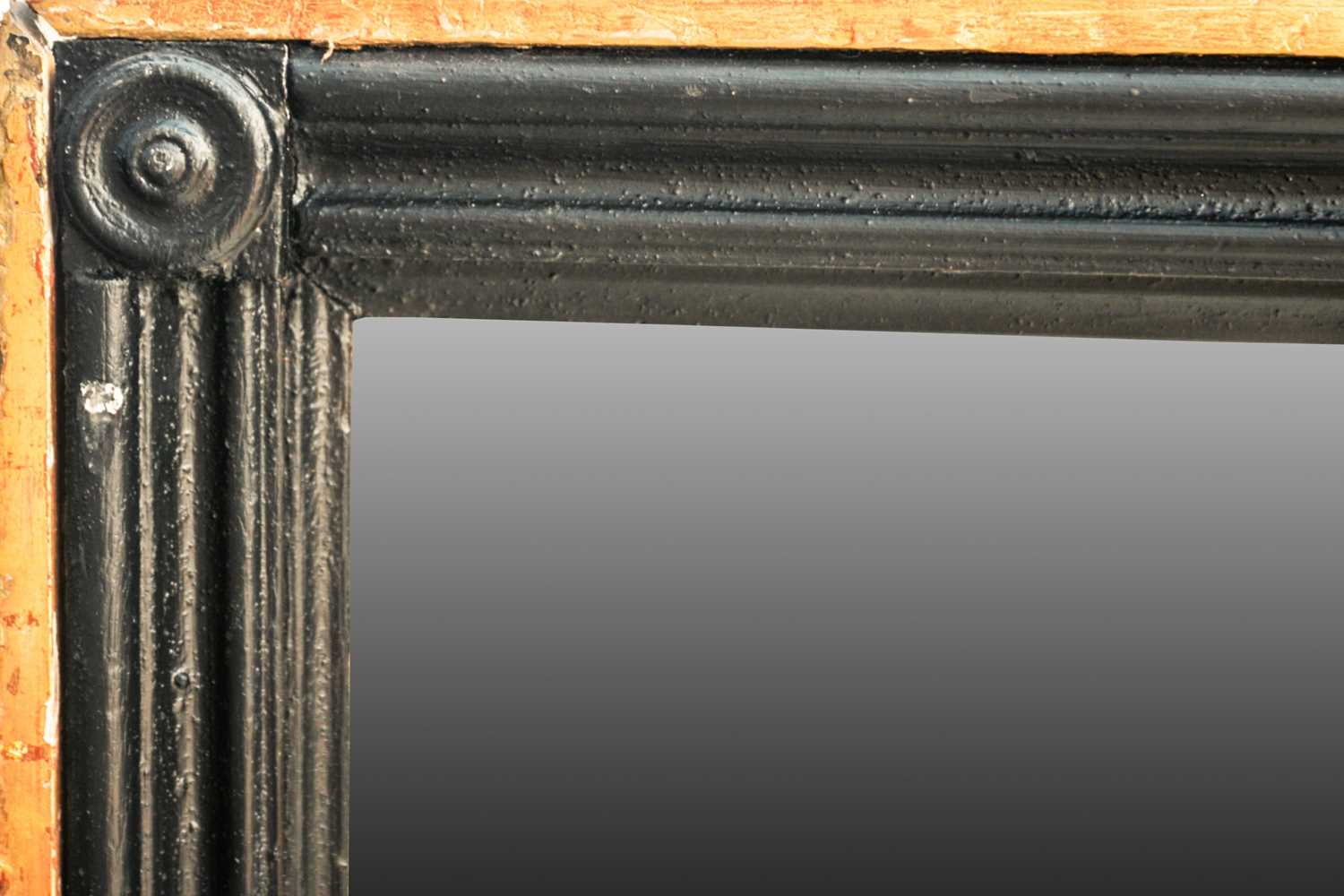 A very large 20th century rectangular ebonized and parcel gilt pier-glass/ wall mirror. With moulded - Image 2 of 2