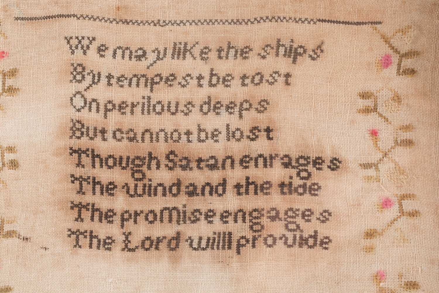A William IV needlework sampler, with verse from John Newtons 'Olney Hymns ' We may like the ships - Image 3 of 6