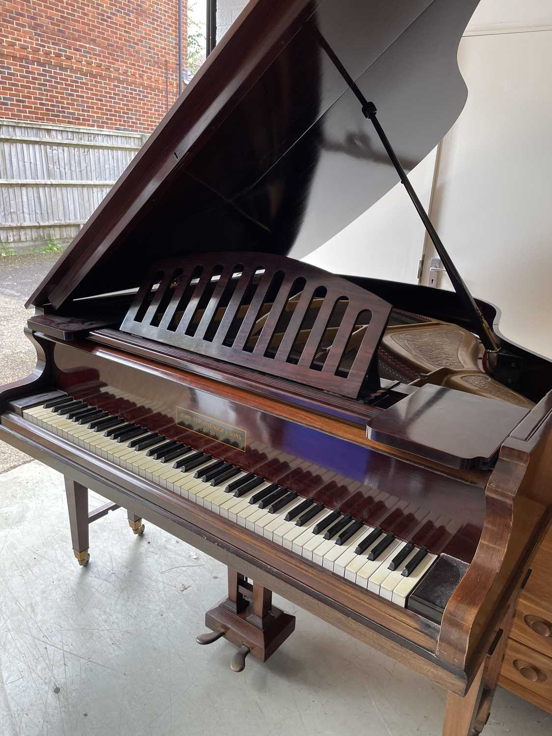 A mahogany cased baby grand piano, by John Strohmenger & Sons, London, 143 cm wide x 101 cm high x - Image 7 of 21