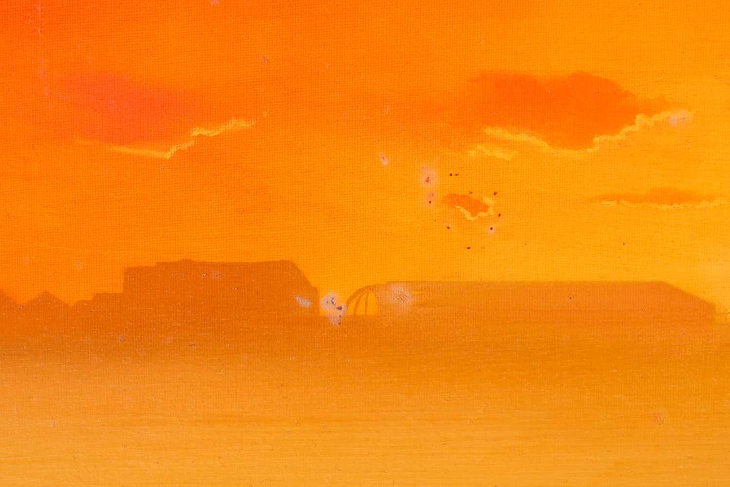 Lawrence Coulson (b.1962), 'Chelsea Wharf, Sundown', oil on canvas, signed to lower left corner, - Image 3 of 5
