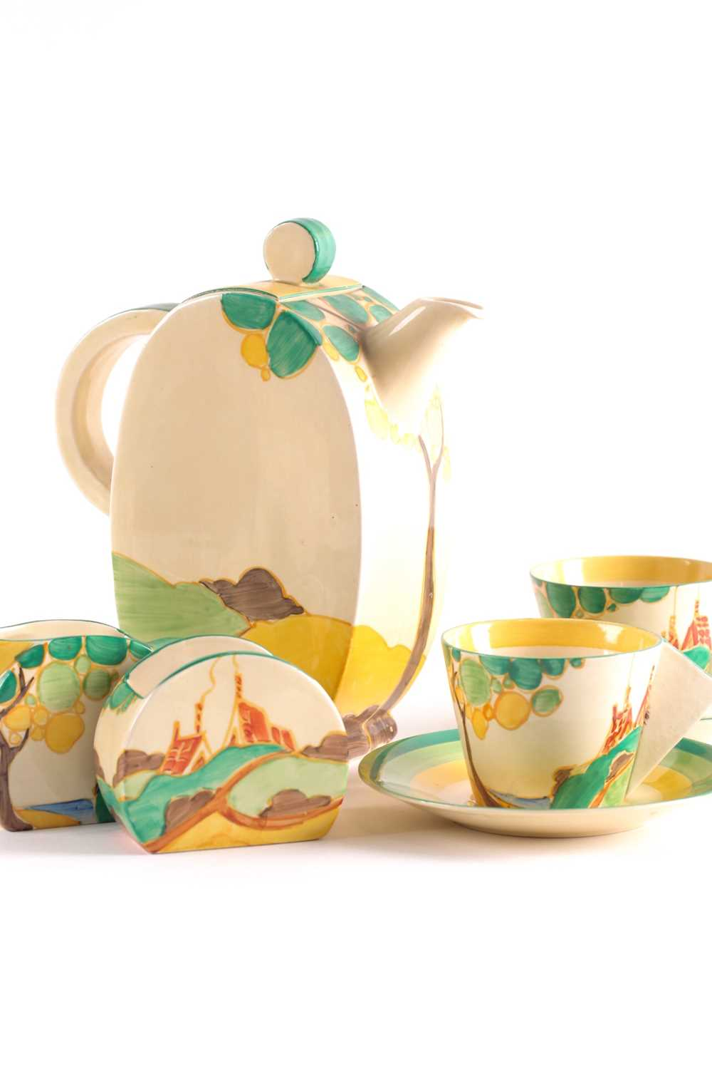 A Clarice Cliff Bon Jour coffee service, circa 1933, in the 'Secrets' pattern, comprising coffee - Image 5 of 9