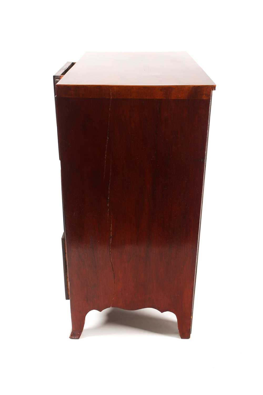 A small George III style satinwood strung mahogany caddy topped chest of drawers. With two short - Image 3 of 7