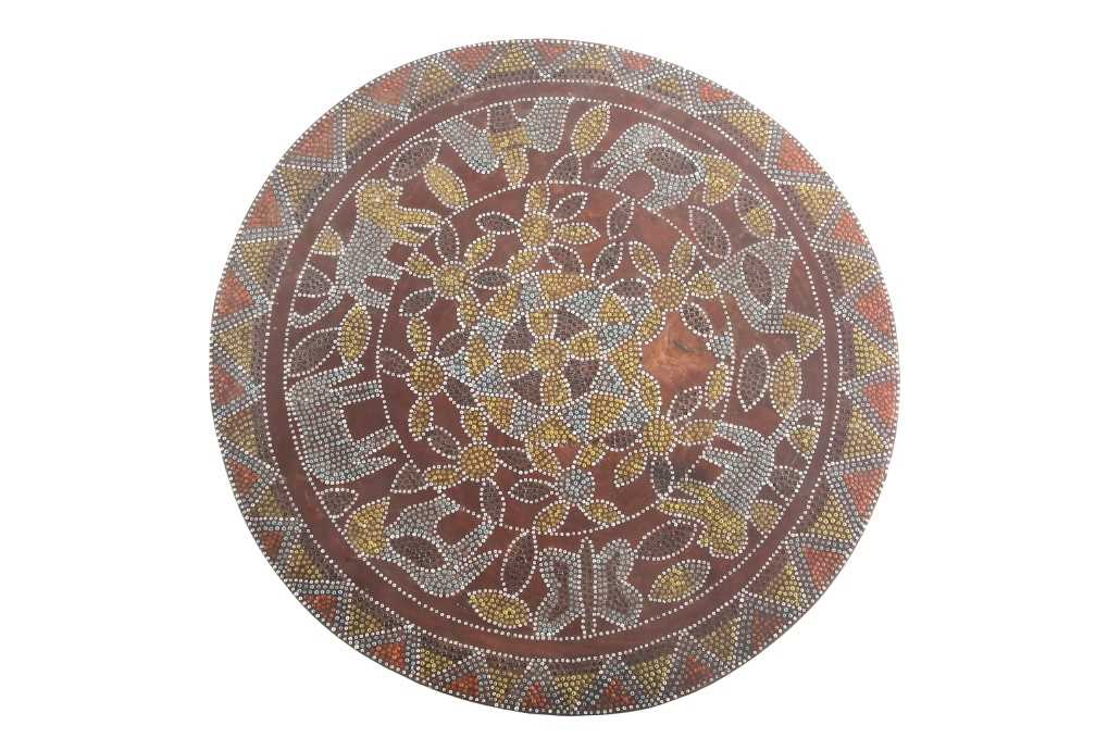 A Kamba stool, Kenya, the circular top inlaid with coloured glass beads, decorated with flower, - Image 2 of 6