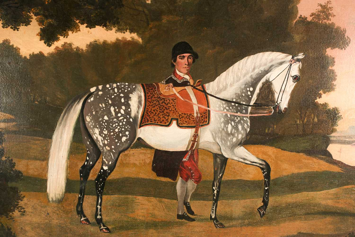 English Naive School, 18th century, Portrait of a dapple grey horse and groom in a landscape, oil on - Image 4 of 4