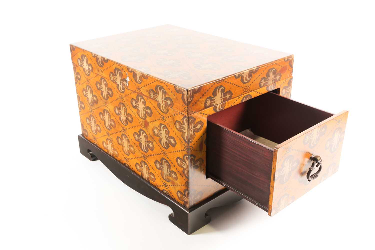 A 20th century two handled trunk with faux armorial painted decoration and a pair of brass - Image 3 of 3