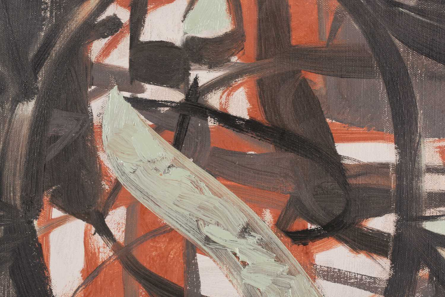 Maurice Cockrill RA (1936-2013), an unframed abstract oil on canvas, 'Earth Opening', signed verso - Image 2 of 3