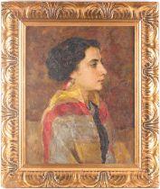 Alexei Vasilievich Kadnikov (b.1873), portrait of a lady, signed & dated 1912, oil on canvas, 44 x