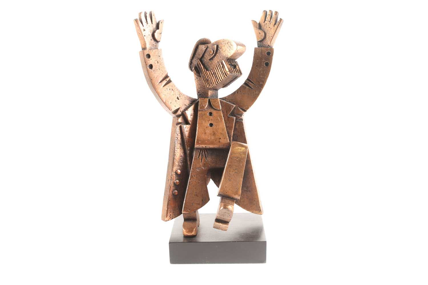 Frank Meisler (1929-2018) Israel, an abstract bronzed metal sculpture of a Rabbi, standing on a