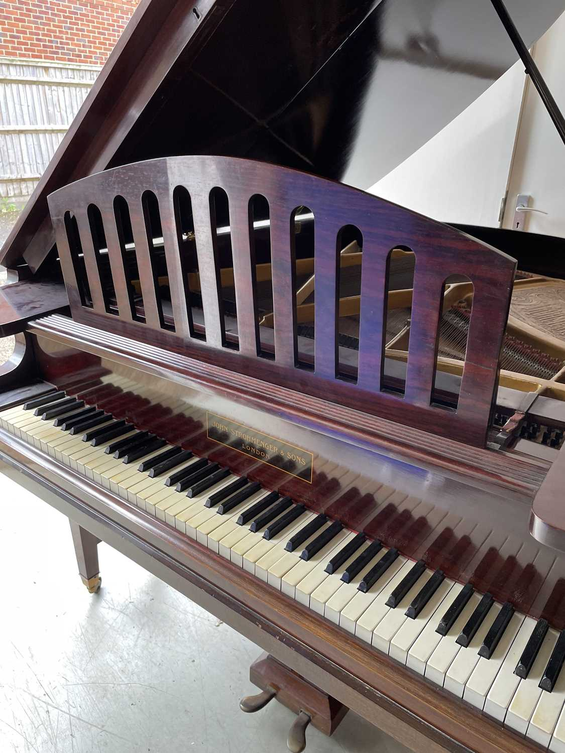 A mahogany cased baby grand piano, by John Strohmenger & Sons, London, 143 cm wide x 101 cm high x - Image 5 of 21