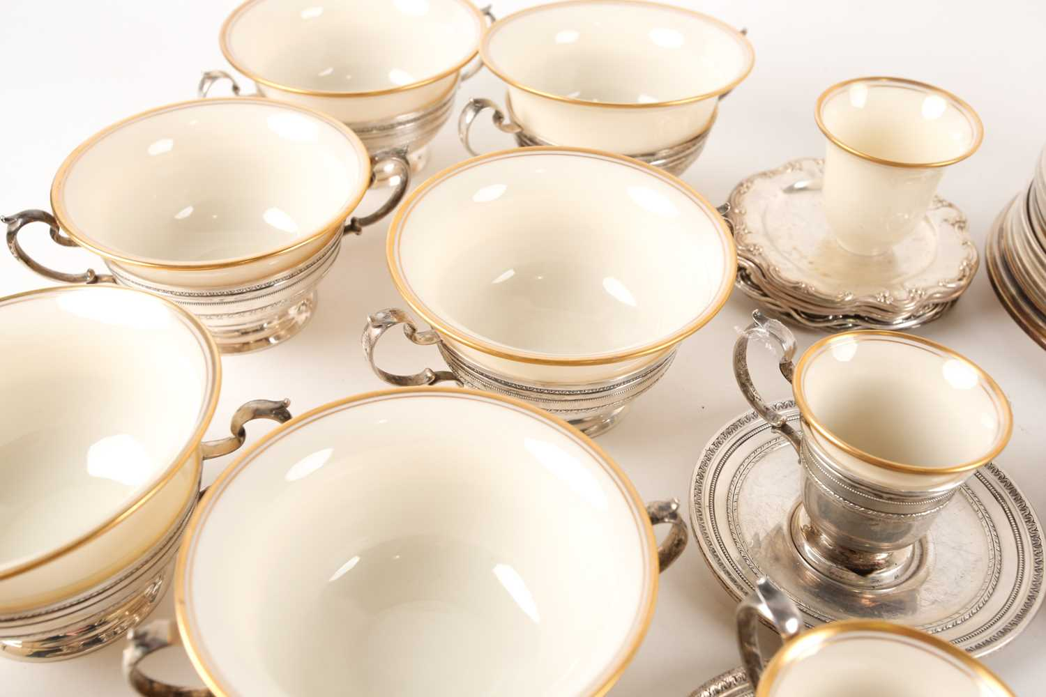A Lenox Porcelain coffee and dessert service, set in Gorham Sterling Silver mounts, comprising - Image 4 of 26
