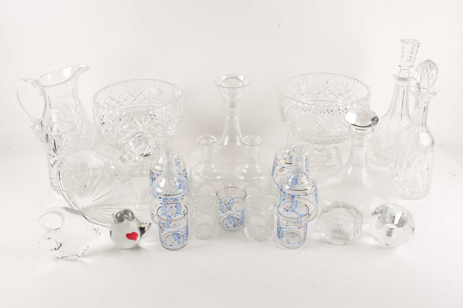 A quantity of cut glass to include a pair of large pedestal bowls, a Waterford decanter, glass - Image 4 of 7