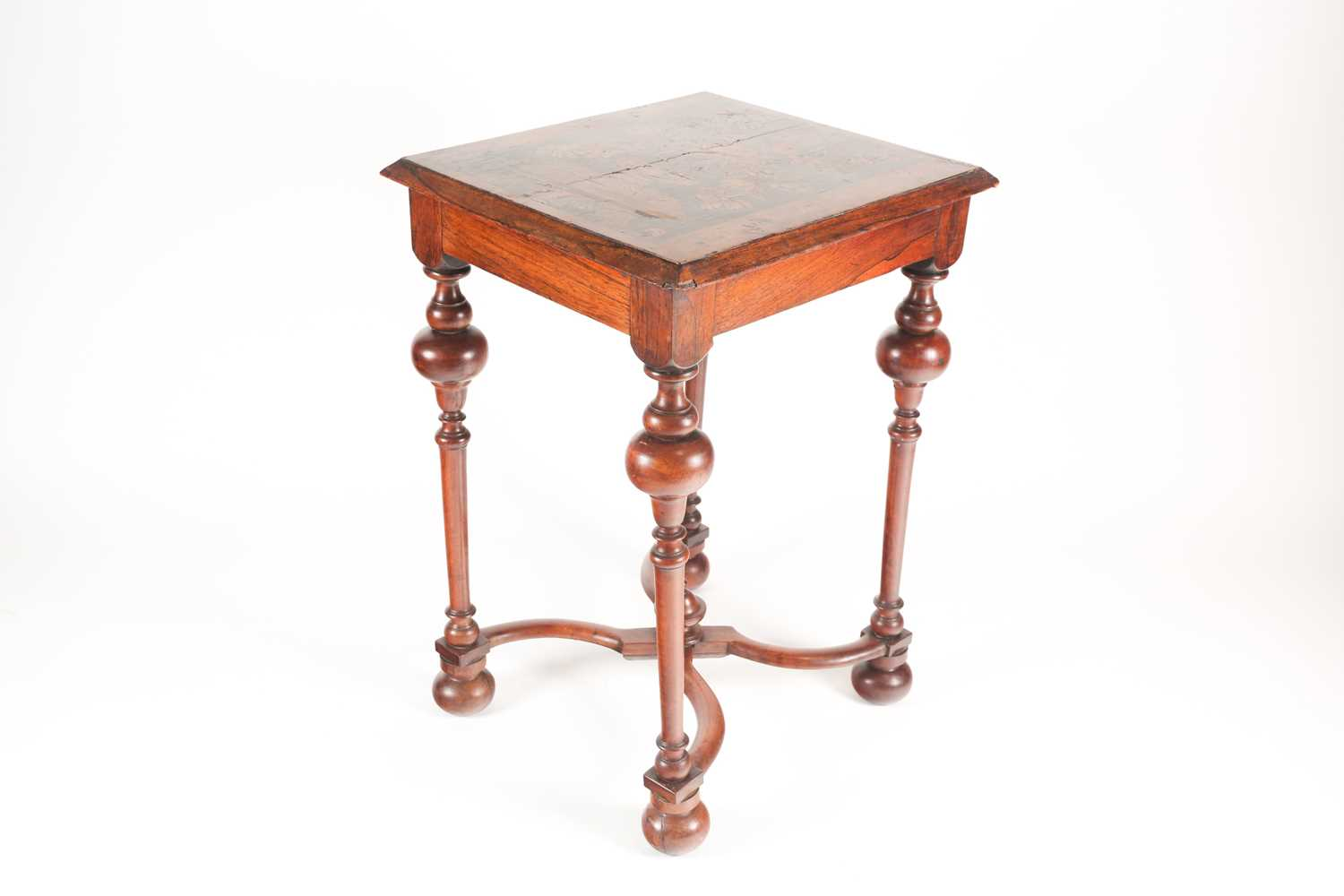 A late 17th-century style Dutch/ Portuguese rosewood, walnut and marquetry pedestal table. The top