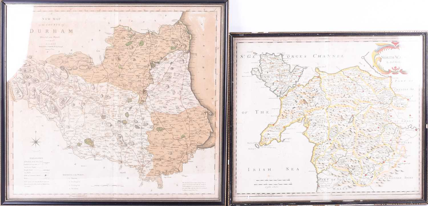 A Robert Morden map of North Wales , hand tinted, 37 x 43cm, together with an early 19th century map