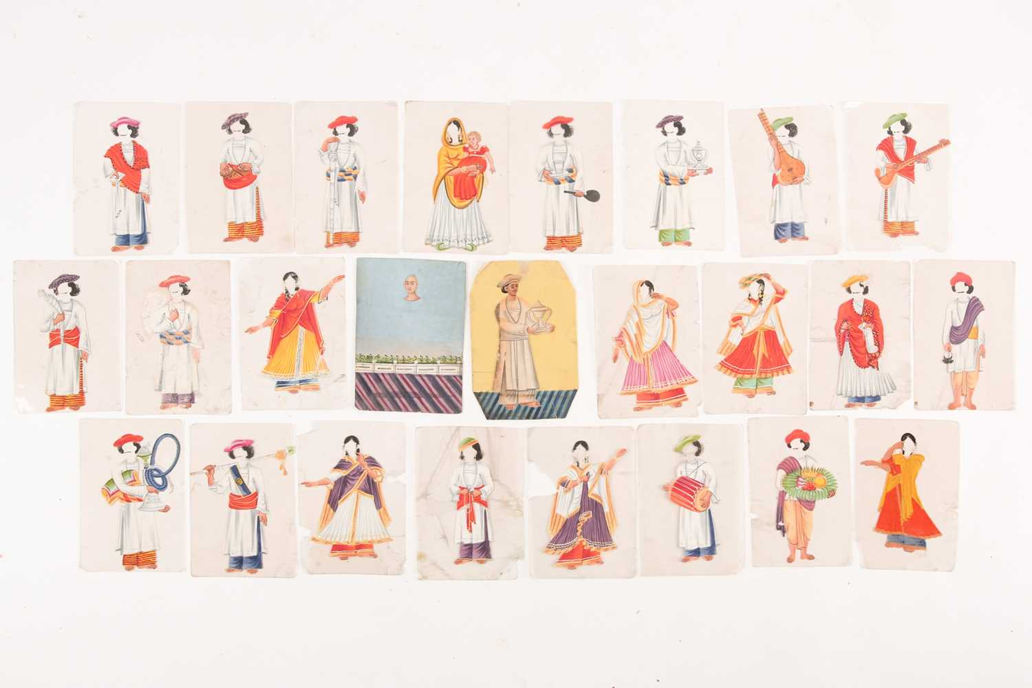 Twenty three Indian Company School mica studies of costumes, 19th century, depicting male and female