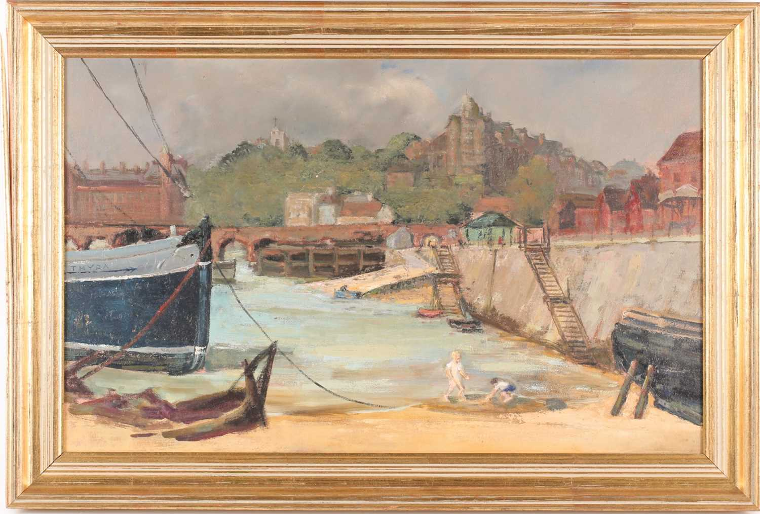 20th century British school, a harbour scene at low tide, children playing on the sand, unsigned oil