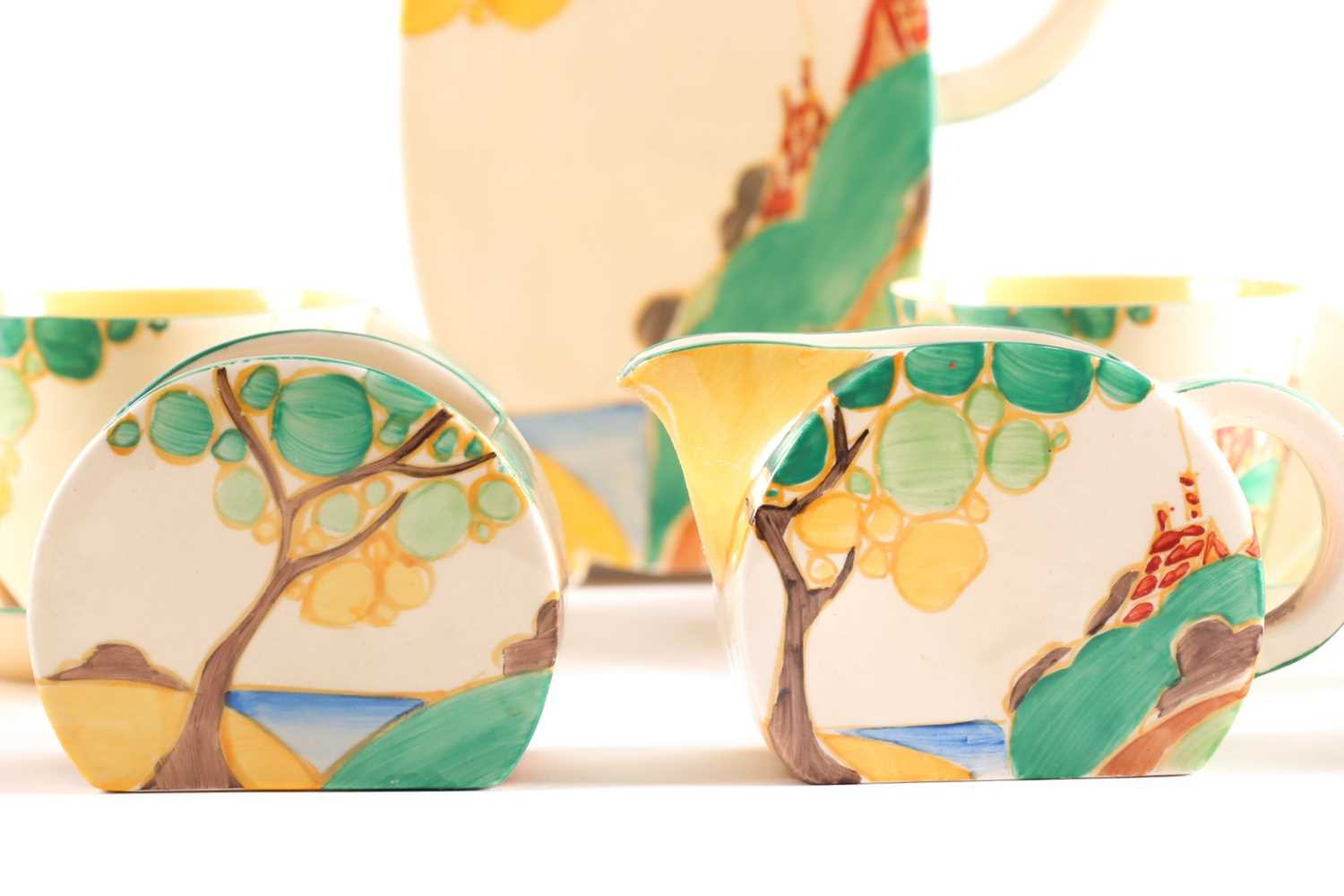 A Clarice Cliff Bon Jour coffee service, circa 1933, in the 'Secrets' pattern, comprising coffee - Image 7 of 9