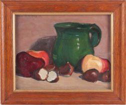 Edmond-Henri Zeiger De Baugy (1895-1950) Swiss, a still life study of fruit and a green jug, oil