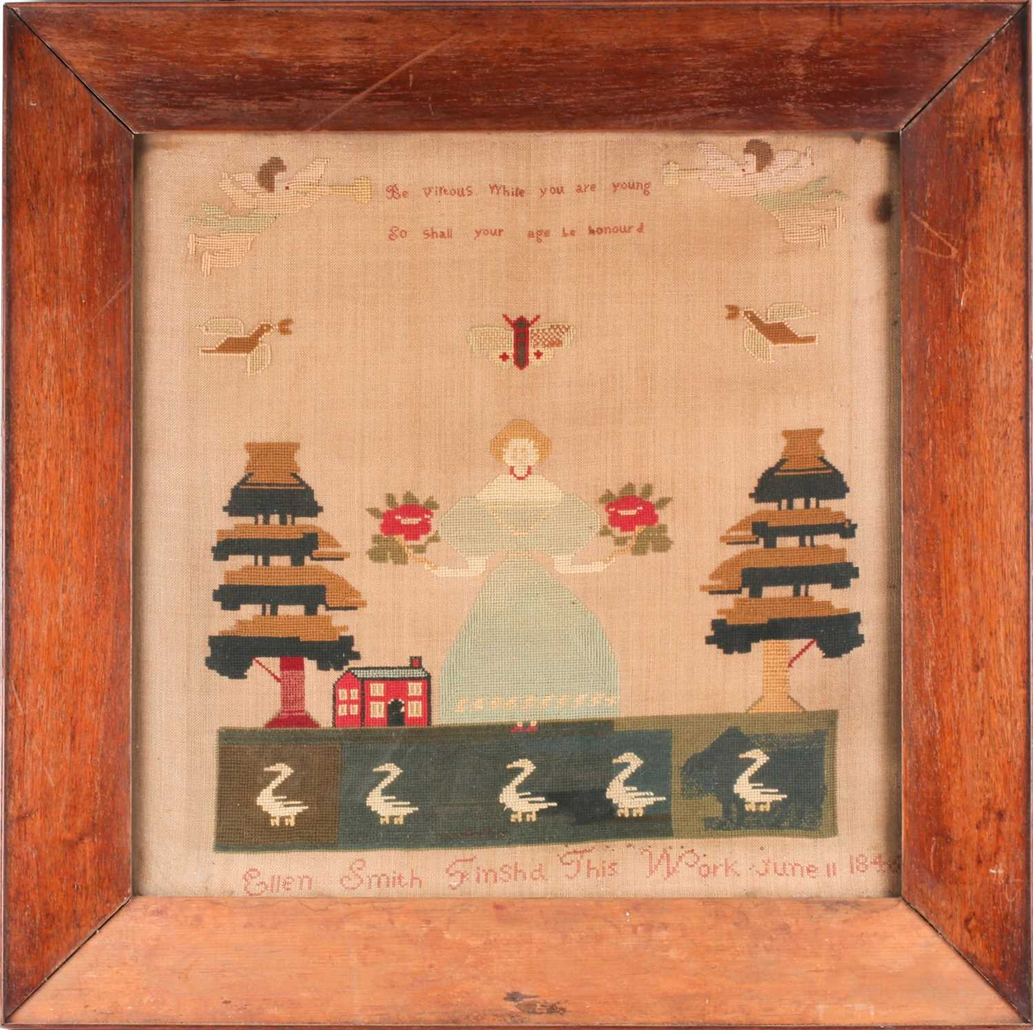 A large 19th century sampler, with trumpeting angels flanking verse ' Be vituous while you are