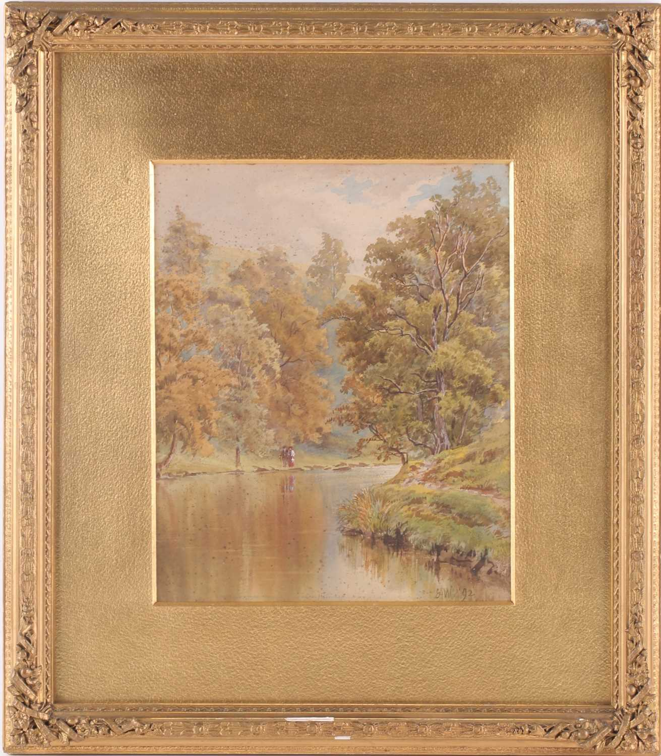 Ernest Albert Waterlow, (1850-1919), Walking in a river landscape, watercolour, signed with monogram