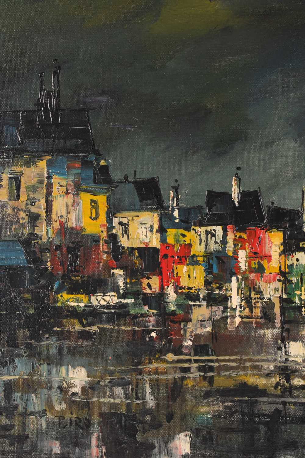 Biro, 20th century school, a townscape painted at night, oil on canvas, signed to lower left corner, - Image 4 of 6
