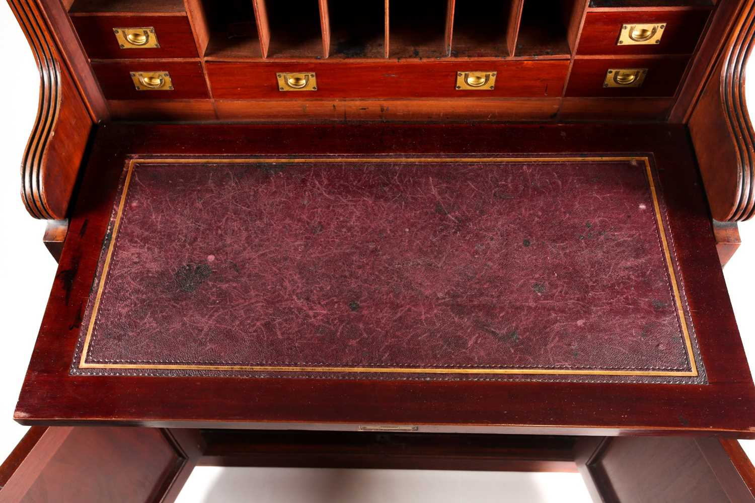 A late 19th-century Aesthetic design walnut fall front secretaire with fitted and leathered - Image 3 of 6